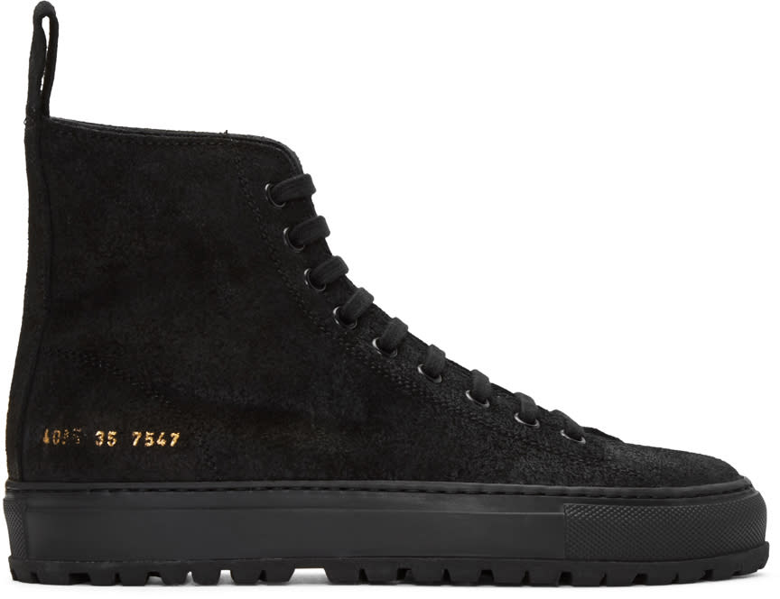 Woman By Common Projects Ssense Exclusive Black Tournament High-top Sneakers