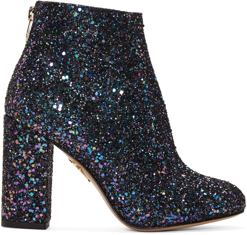 Charlotte Olympia Blue Glittered Alba Ankle Boots