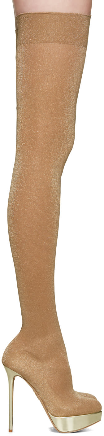 Charlotte Olympia Beige More Is More Over-the-knee Boots