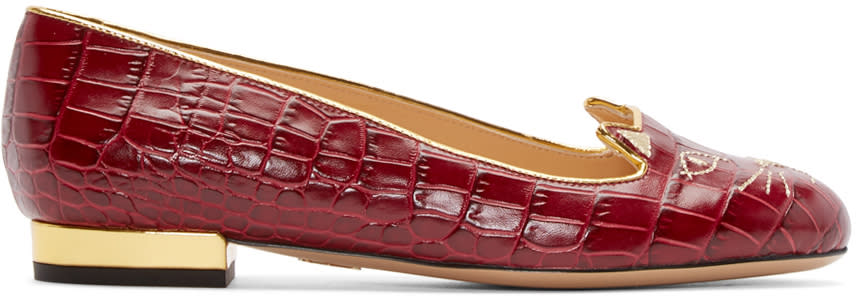Charlotte Olympia Red Croc-embossed Kitty Flats