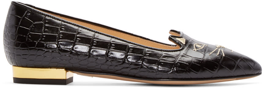 Charlotte Olympia Black Croc-embossed Mid-century Kitty Flats