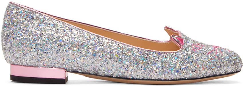 Charlotte Olympia Silver Glitter Metallic Kitty Flats
