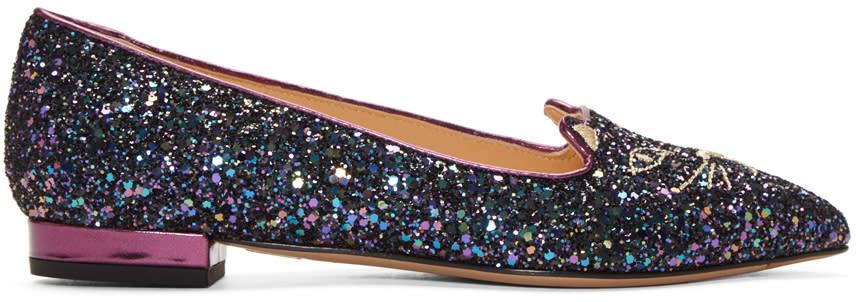 Charlotte Olympia Blue Glitter Metallic Kitty Flats