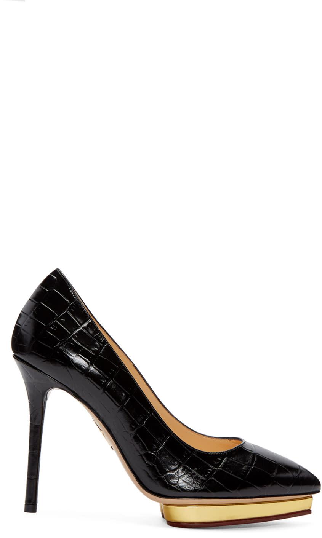 Charlotte Olympia Black Croc-embossed Debbie Heels