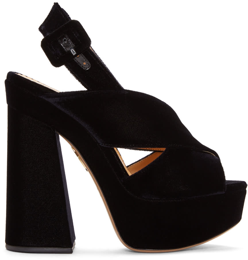 Charlotte Olympia Black Velvet Elektra Heels
