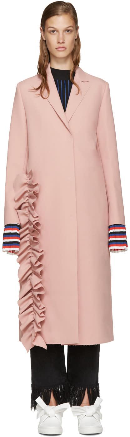 Msgm Pink Ruffle Coat