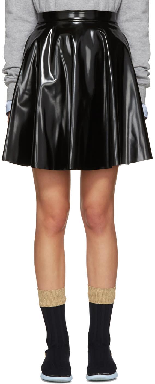 Msgm Black Vinyl Circle Skirt