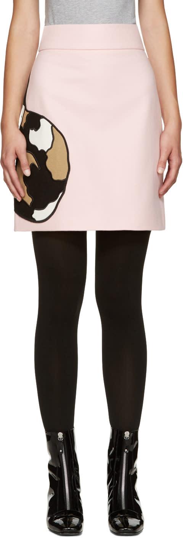 Msgm Pink Wool Cat Miniskirt