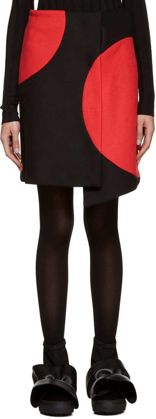 Msgm Black and Red Wrap Skirt