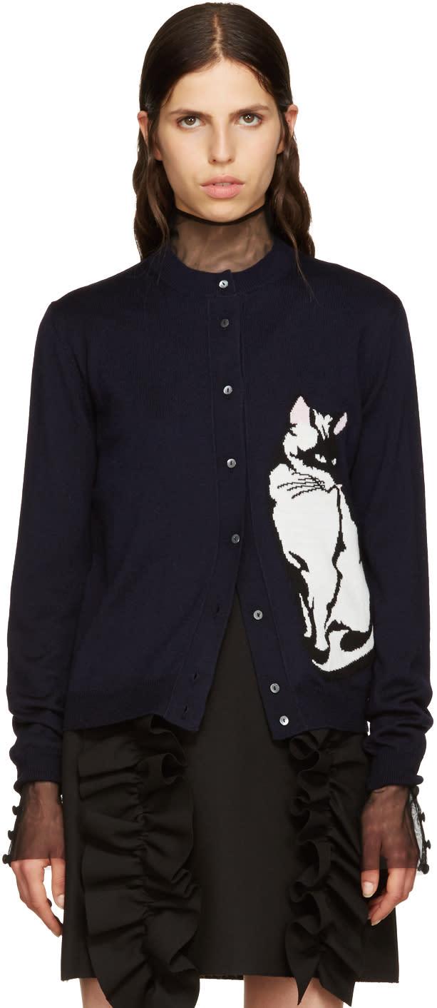 Msgm Navy Wool Cat Cardigan