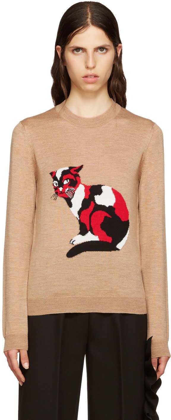 Msgm Beige Wool Cat Pullover