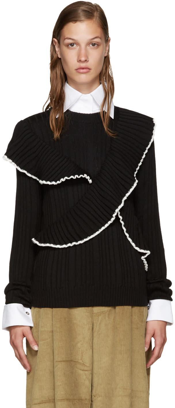 Msgm Black Ruffled Sweater