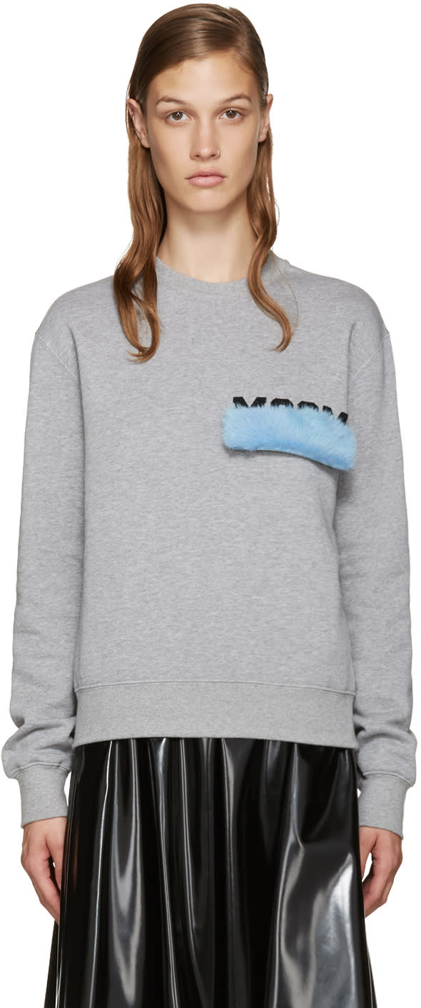 Msgm Grey Mink Patch Sweatshirt