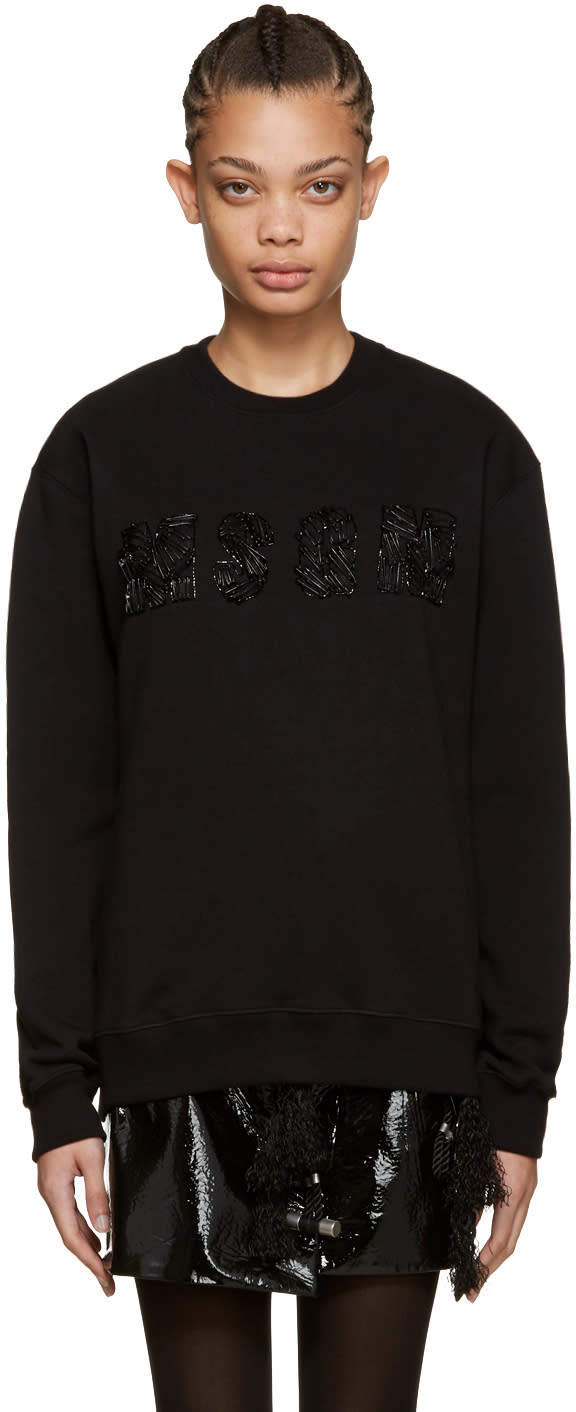 Msgm Black Safety Pin Logo Sweatshirt