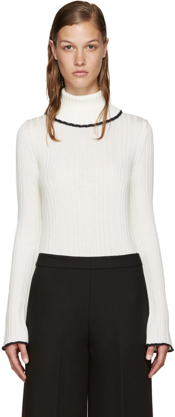 Msgm Ivory Ruffled Turtleneck