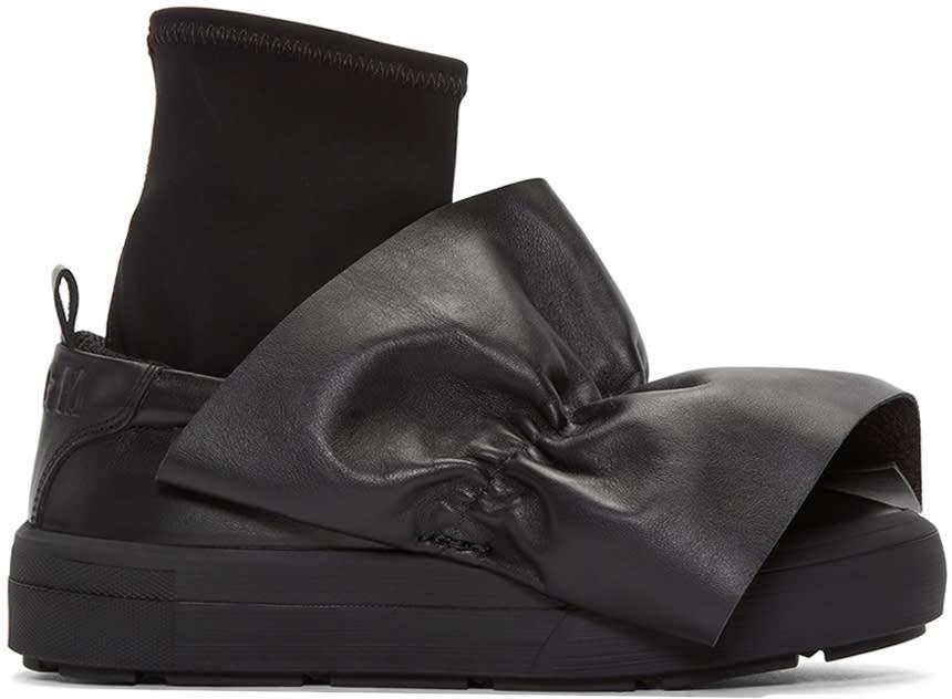 Msgm Black Ruched Trim Slip-on Sneakers