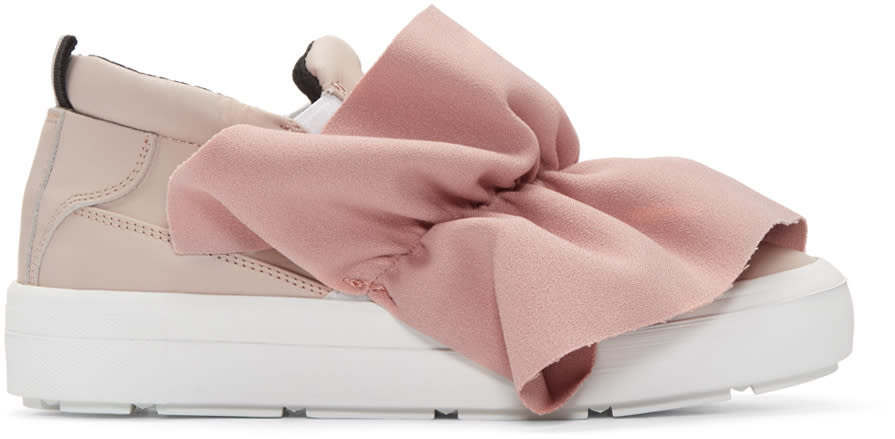 Msgm Pink Ruched Trim Slip-on Sneakers