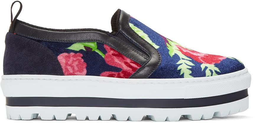 Msgm Multicolor Floral Platform Sneakers