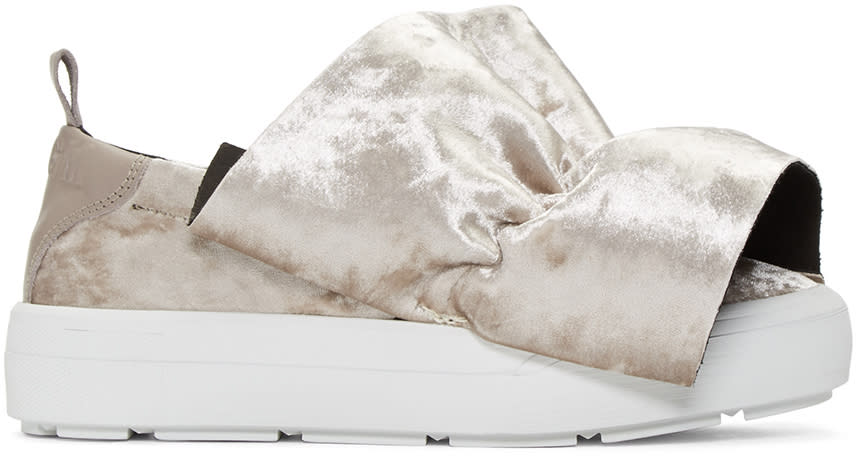 Msgm Taupe Velvet Ruched Trim Slip-on Sneakers