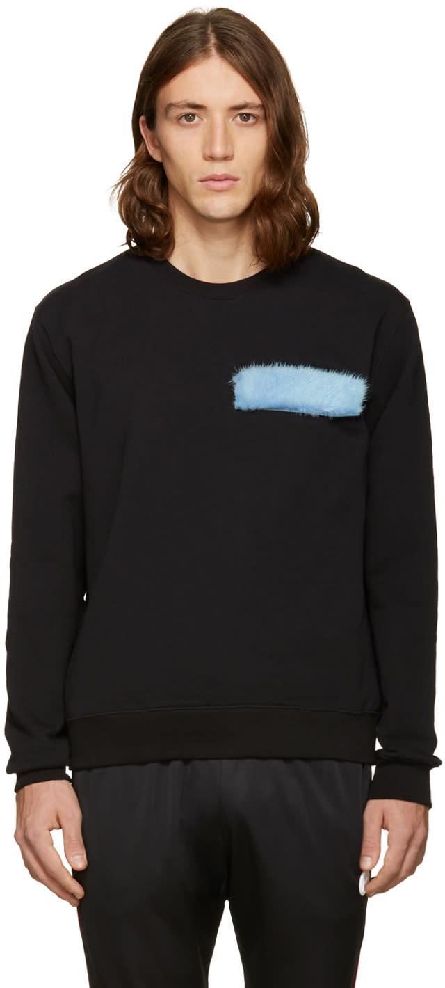 Msgm Black Fur Patch Sweatshirt