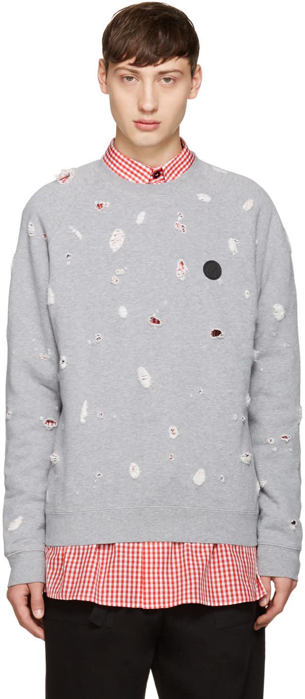Msgm Grey Distressed Sweatshirt