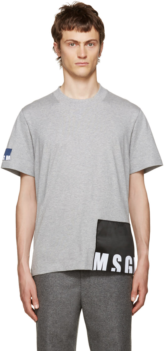 Msgm Grey Logo Patches T-shirt