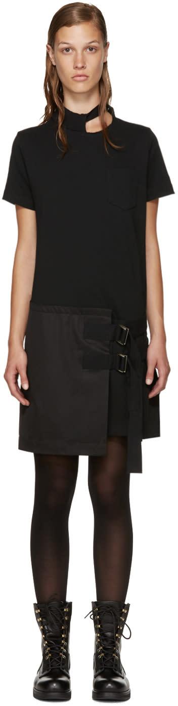 Sacai Black Belted T-shirt Dress