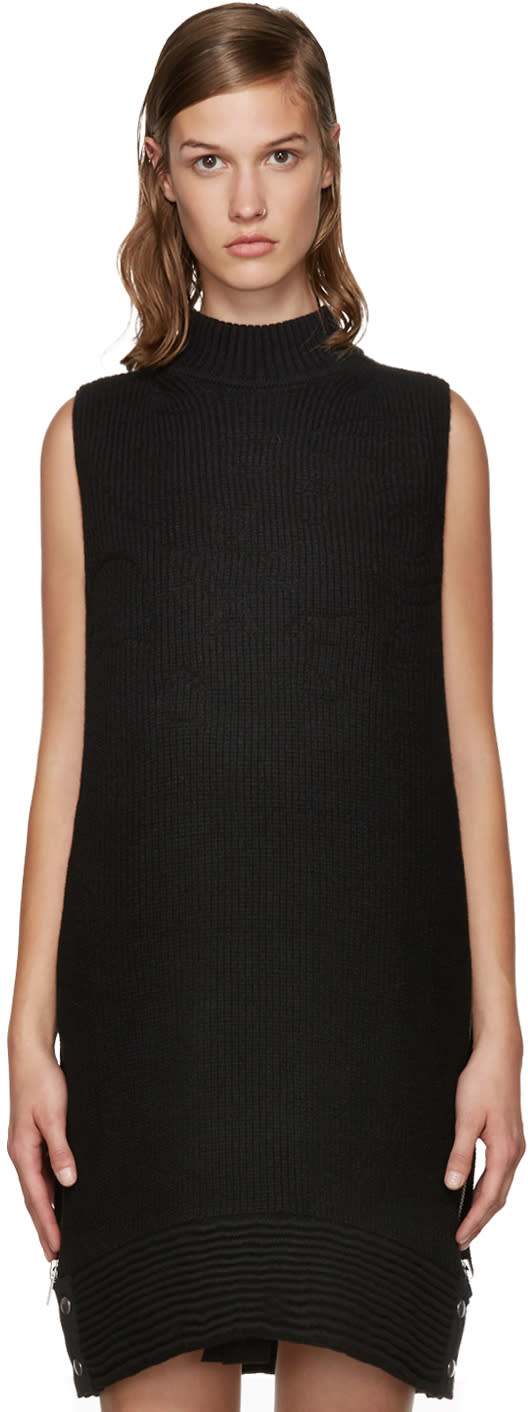 Sacai Black Quilted Knit Dress