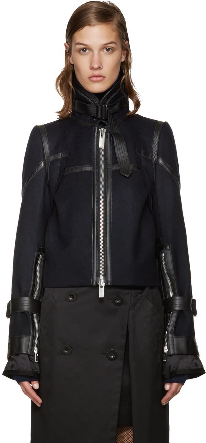 Sacai Navy Wool Biker Jacket