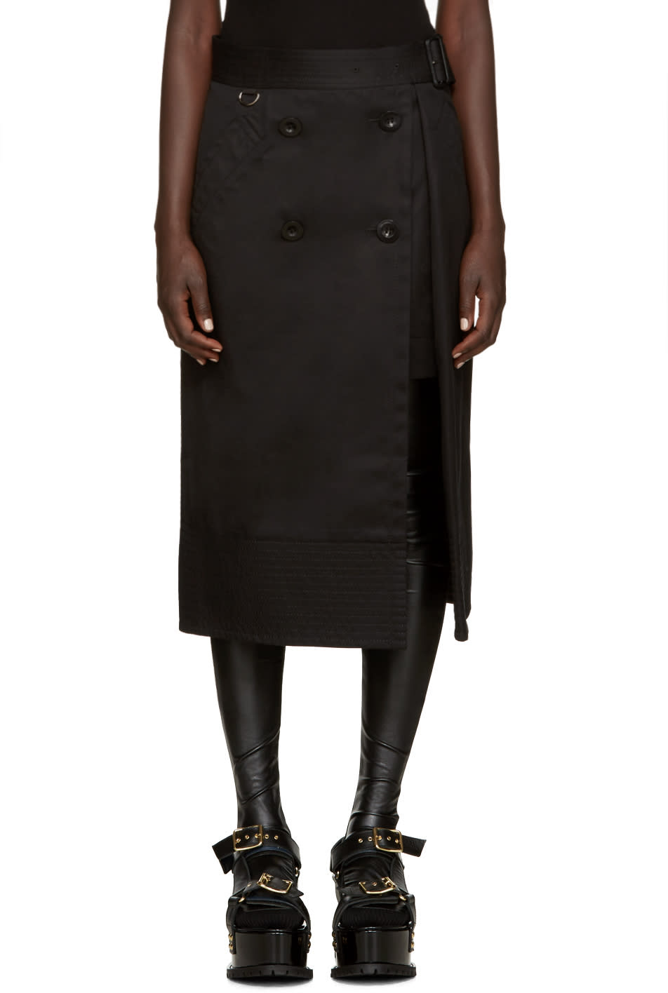 Sacai Black Trench Wrap Skirt