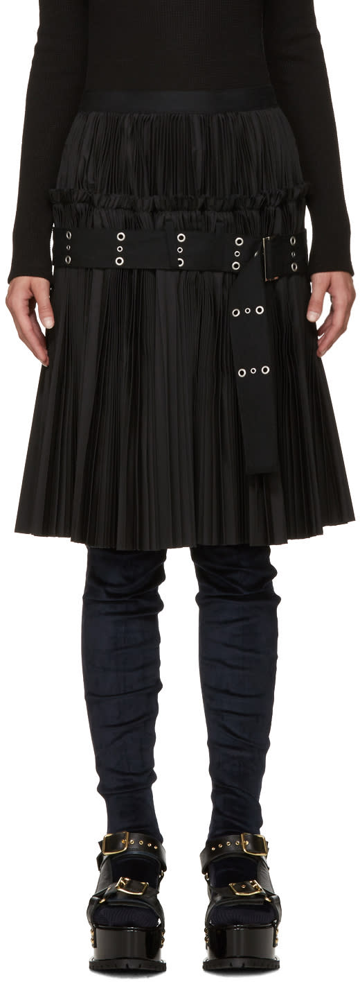 Sacai Black Classic Pleated Shirting Skirt