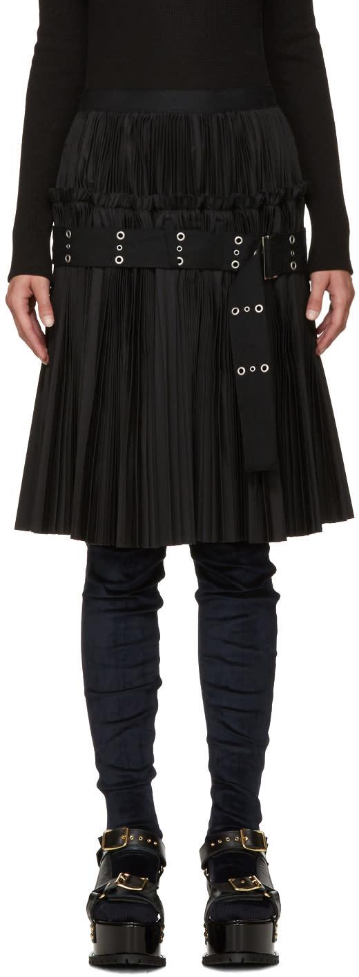 Image of Sacai Black Classic Pleated Shirting Skirt