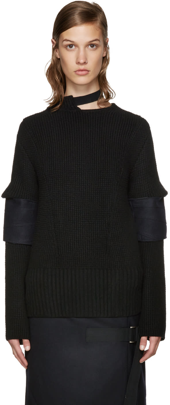 Image of Sacai Black Belted Collar Sweater