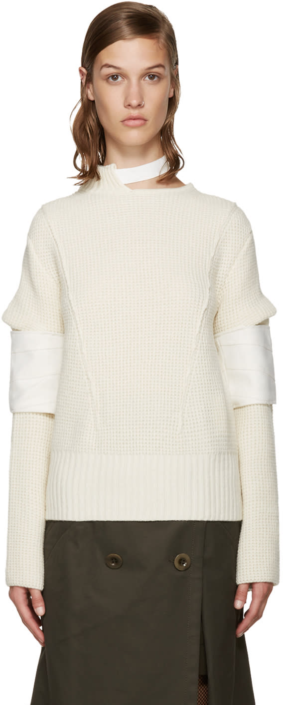 Sacai Ivory Belted Collar Sweater