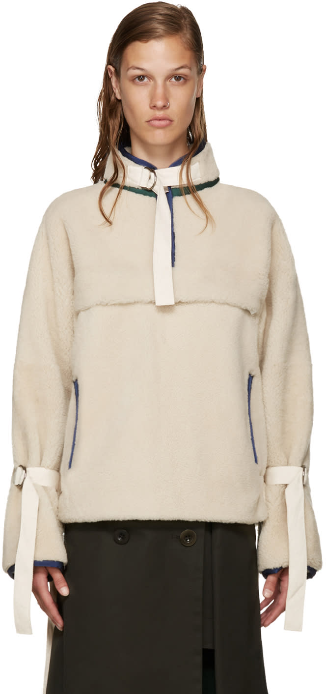 Sacai Ivory Shearling Pullover