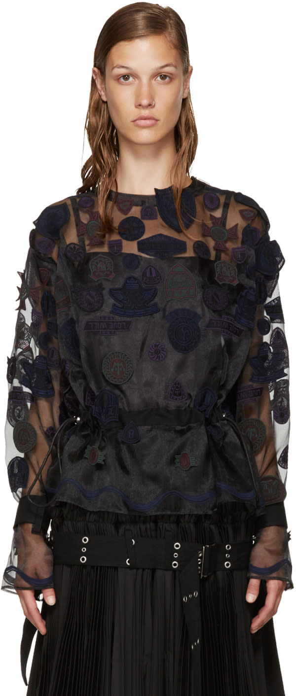 Sacai Black Embroidery Patches Blouse
