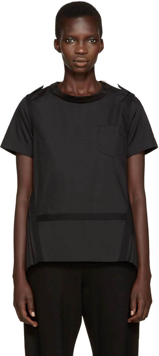 Sacai Black Velvet Collar Pleated Top