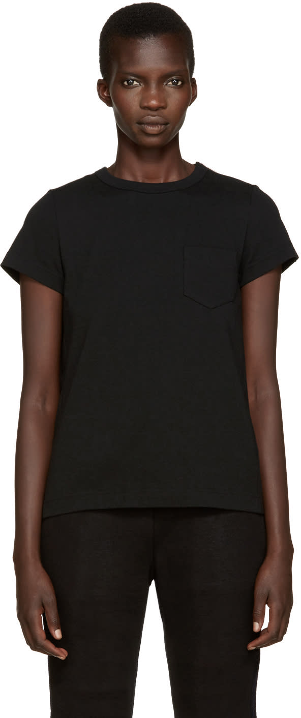Sacai Black Pleated Back T-shirt