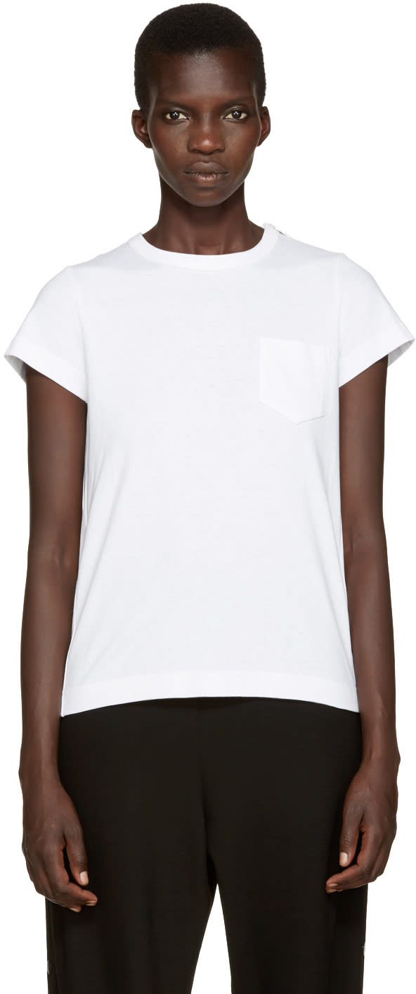 Sacai White Pleated Back T-shirt