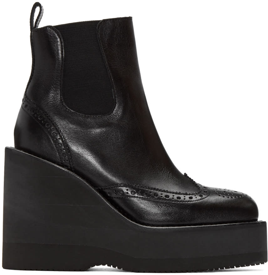 Sacai Black Brogue Wedge Boots
