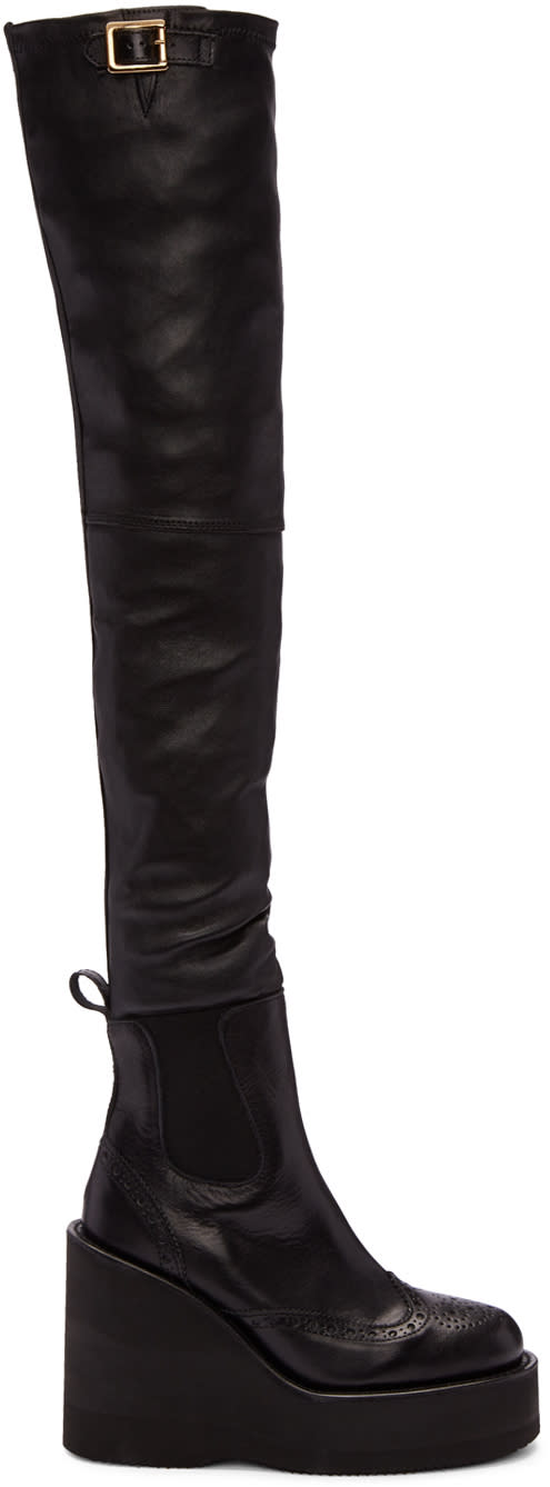 Sacai Black Brogue Over-the-knee Boots