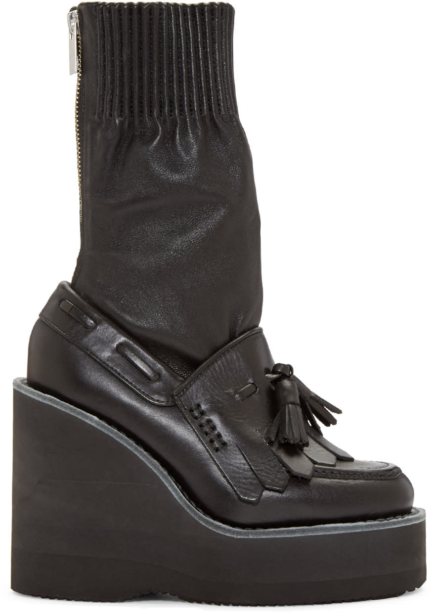 Sacai Black Zip Wedge Boots