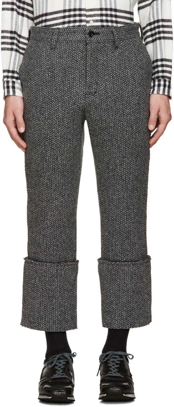 Sacai Black and White Raw Edge Trousers