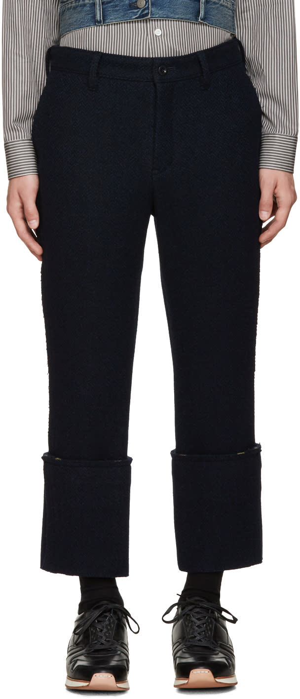 Sacai Navy Raw Edge Trousers