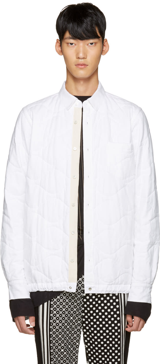 Sacai White Quilted Flannel Jacket