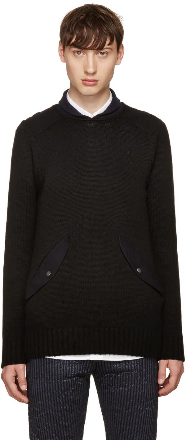 Sacai Black Shawl Neck Sweater