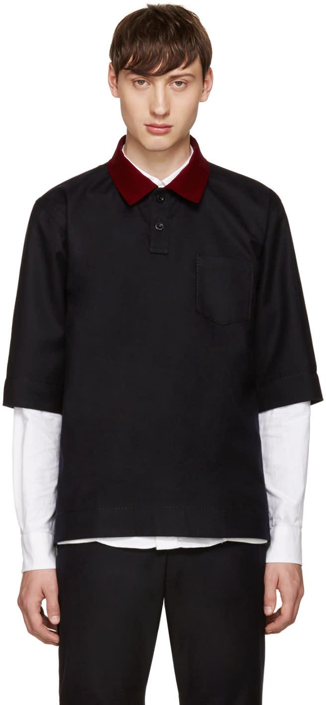 Sacai Navy Velvet Collar Shirt