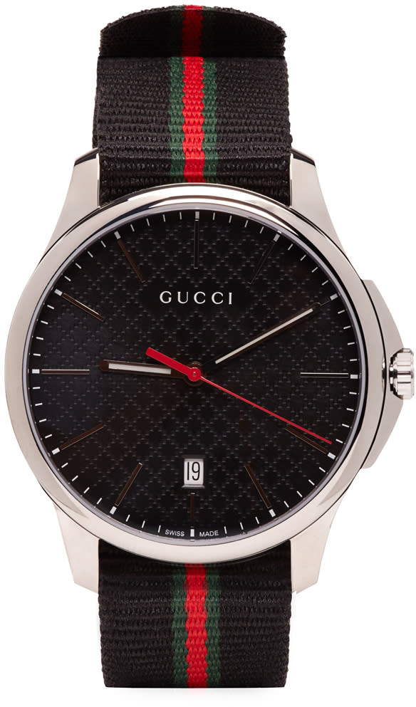 gucci female gucci silver and black gtimeless watch