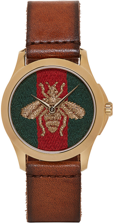gucci female gucci brown medium gtimeless bee watch