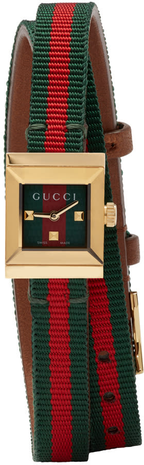 gucci female gucci red and green gframe watch